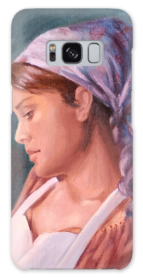 Maid Galaxy Case featuring the painting Sarah The Kitchen Maid After Johnnie Liliedahl by Quwatha Valentine