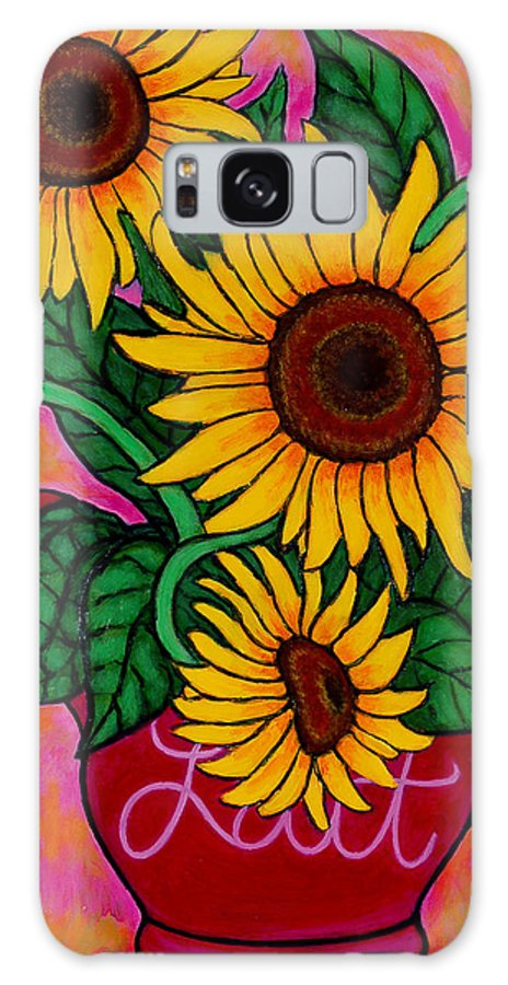 Sunflowers Galaxy Case featuring the painting Saturday Morning Sunflowers by Lisa Lorenz