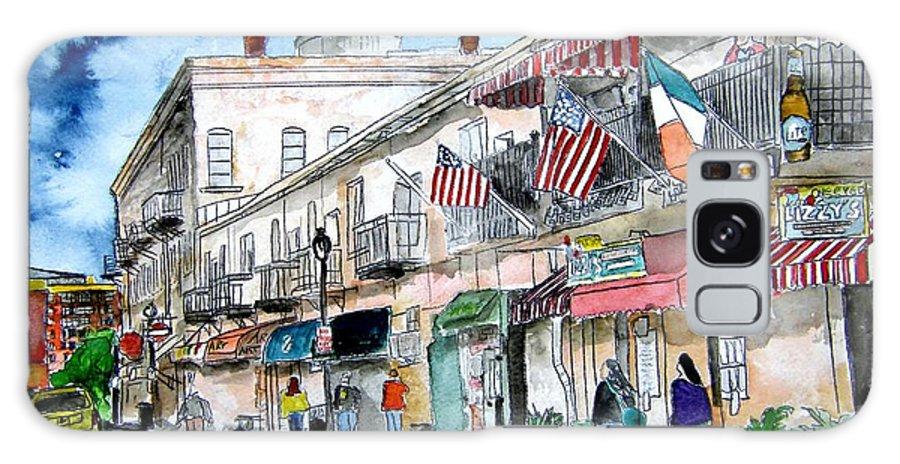 Pen And Ink Galaxy Case featuring the painting Savannah Georgia River Street by Derek Mccrea