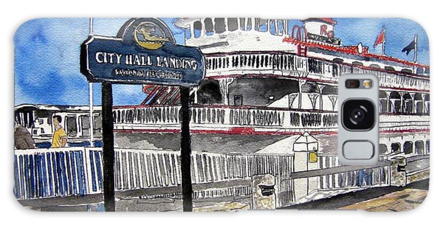 Savannah Galaxy S8 Case featuring the painting Savannah River Queen Boat Georgia by Derek Mccrea