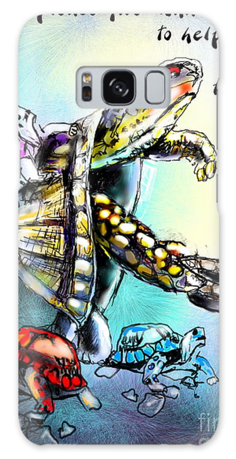 Turtle Painting Galaxy S8 Case featuring the digital art Save My Family by Miki De Goodaboom