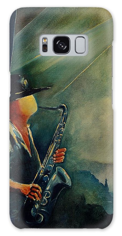 Music Galaxy S8 Case featuring the painting Sax Player by Pol Ledent