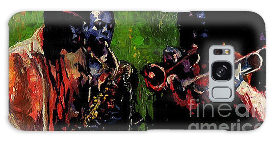 Jazz Galaxy S8 Case featuring the painting Saxophon Players. by Yuriy Shevchuk