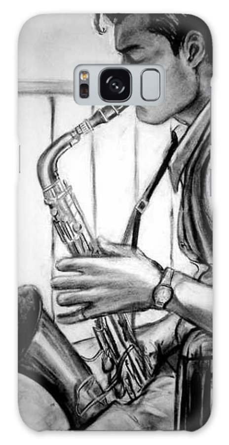 Handsome Man Galaxy Case featuring the drawing Saxophone Player by Laura Rispoli