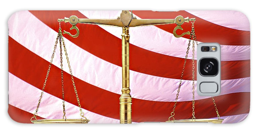Photography Galaxy Case featuring the photograph Scales Of Justice American Flag by Panoramic Images