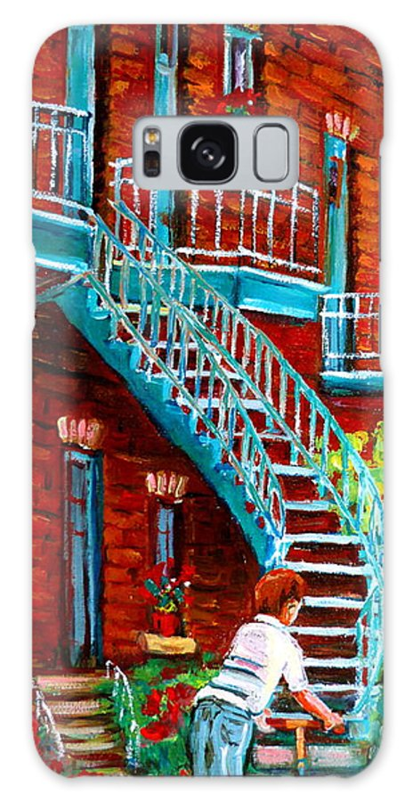 Debullion Street Galaxy S8 Case featuring the painting Scooter Ride Along Coloniale Street by Carole Spandau