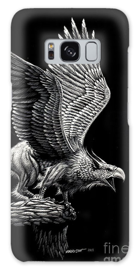 Griffon Galaxy S8 Case featuring the drawing Screaming Griffon by Stanley Morrison