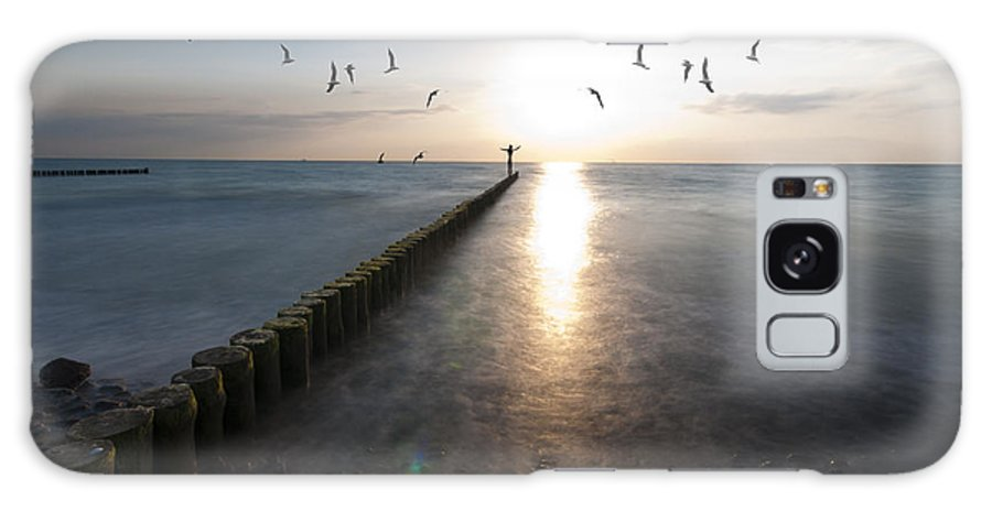 �stsee Galaxy Case featuring the photograph Sea Birds Sunset. by Nathan Wright