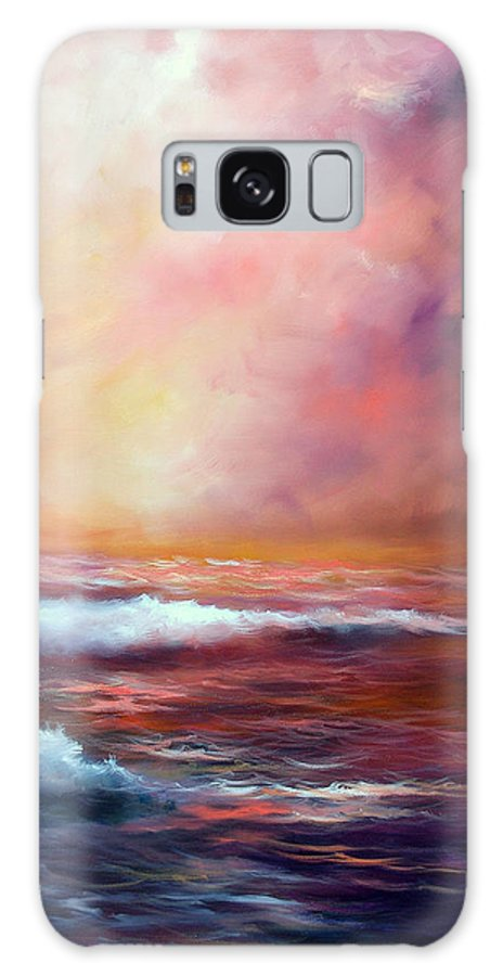 Ocean Galaxy Case featuring the painting Sea Dusk by Sally Seago