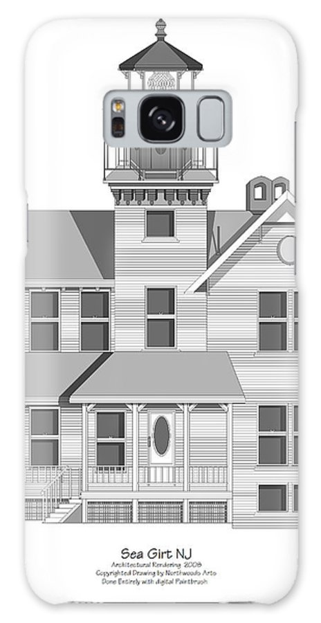 Lighthouse Galaxy Case featuring the painting Sea Girt New Jersey Architectural Drawing by Anne Norskog