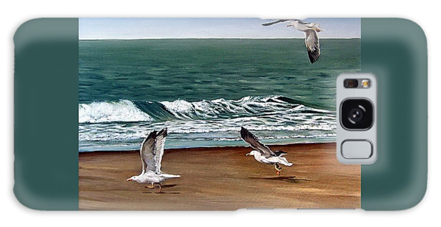 Seascape Galaxy Case featuring the painting Seagulls 2 by Natalia Tejera