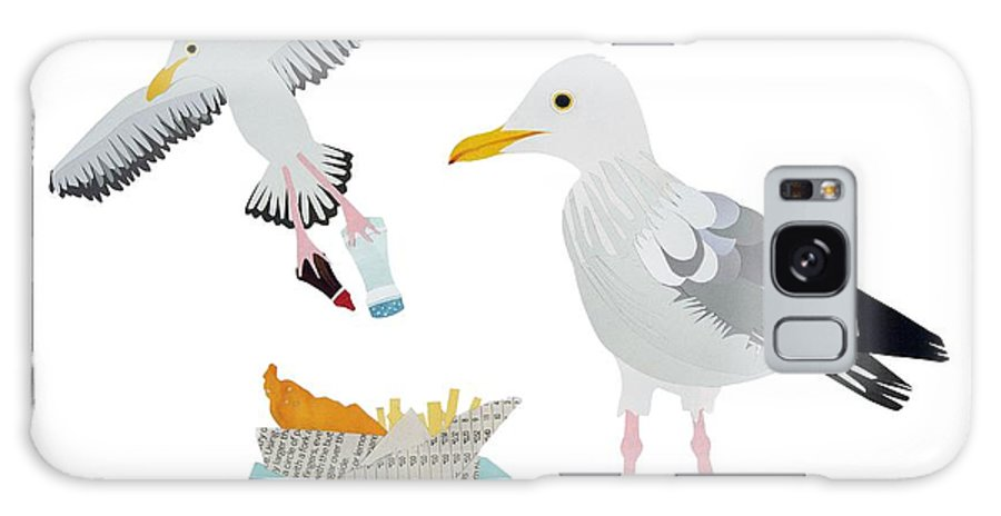 Segull Galaxy S8 Case featuring the drawing Seagulls by Isobel Barber