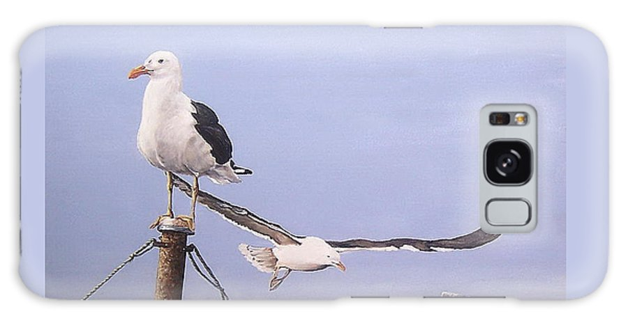 Seascape Gulls Bird Sea Galaxy Case featuring the painting Seagulls by Natalia Tejera