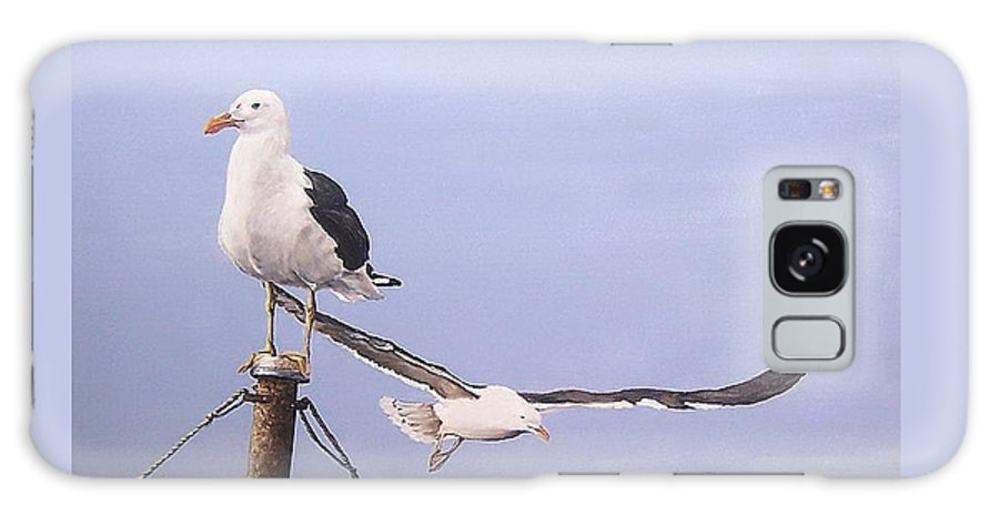 Seascape Gulls Bird Sea Galaxy S8 Case featuring the painting Seagulls by Natalia Tejera