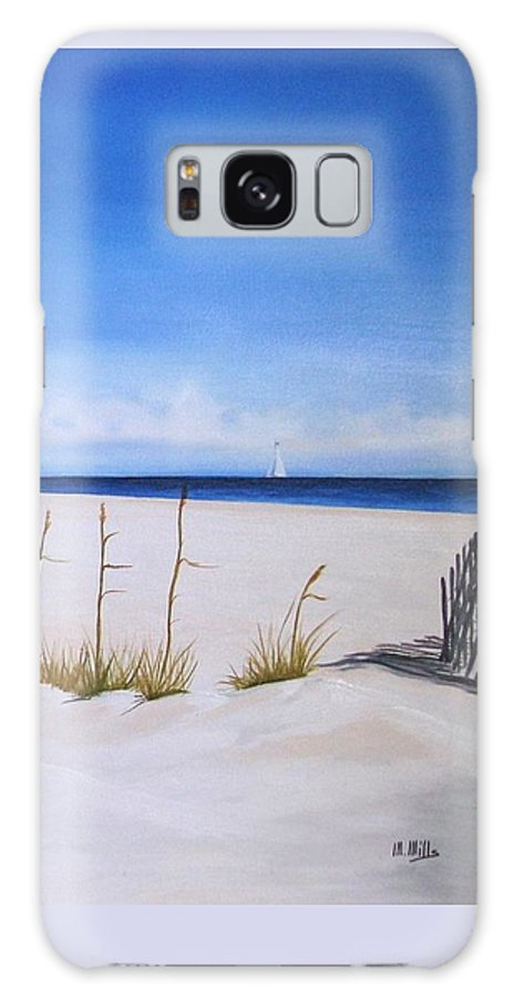 Beach Galaxy S8 Case featuring the painting Seaoats by Maria Mills
