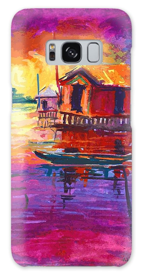Water Galaxy S8 Case featuring the painting Seascape by Okemakinde John abiodun
