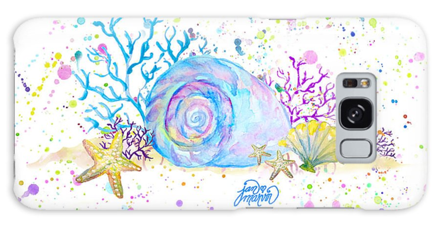 Seashells Galaxy S8 Case featuring the painting Seashells And Coral Watercolor by Jan Marvin