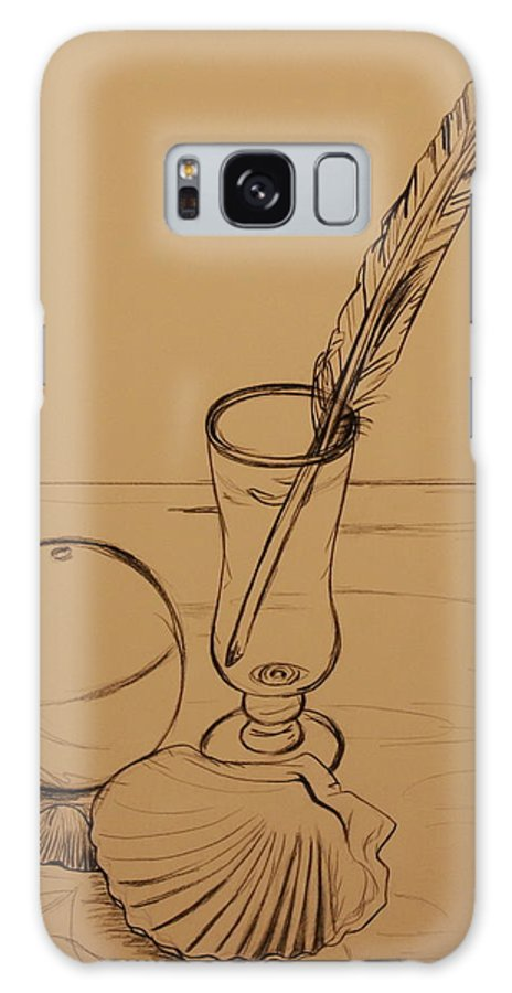 Ocean Galaxy S8 Case featuring the drawing Seaside Objects by Michelle Miron-Rebbe