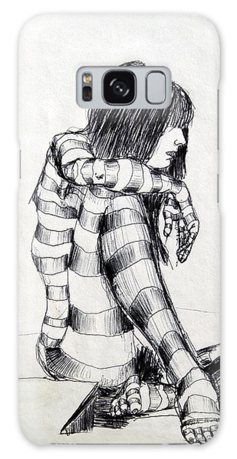 Ink Drawing Galaxy S8 Case featuring the drawing Seated Striped Nude by Ron Bissett