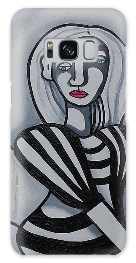 Abstract Galaxy S8 Case featuring the painting Seated Woman 2 by Erika Avery