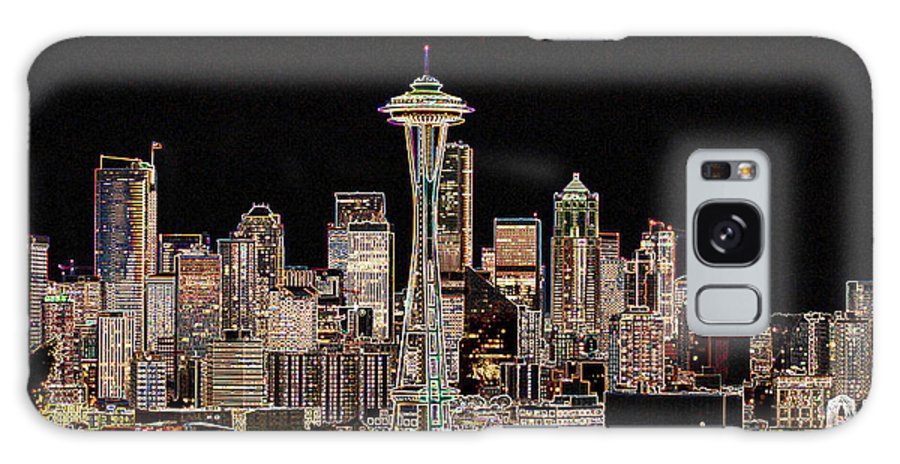 Colorful Galaxy Case featuring the photograph Seattle A Glow by Larry Keahey