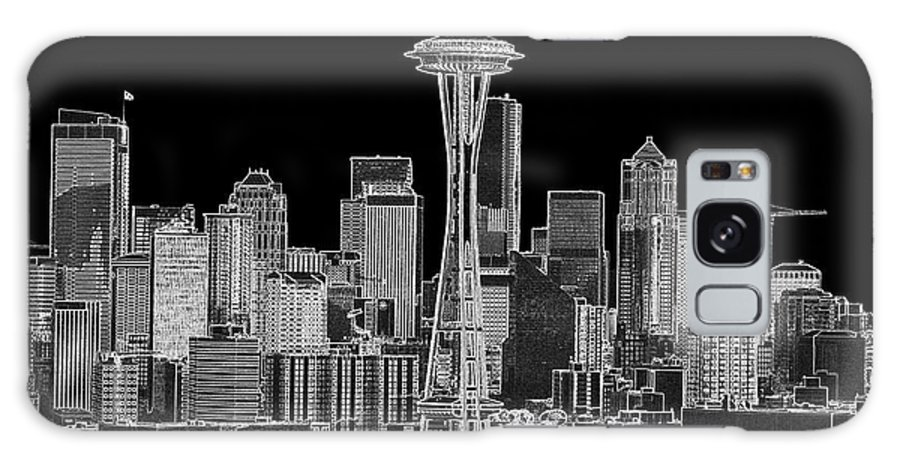 Black And White Galaxy S8 Case featuring the photograph Seattle Black And White by Larry Keahey