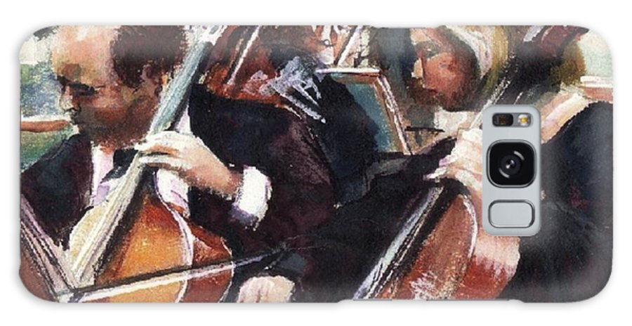 Cellos Galaxy S8 Case featuring the painting Second Cellos by Podi Lawrence