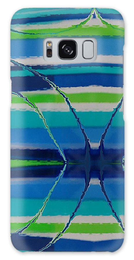 Abstract Galaxy S8 Case featuring the painting See Thru Blue by Florene Welebny