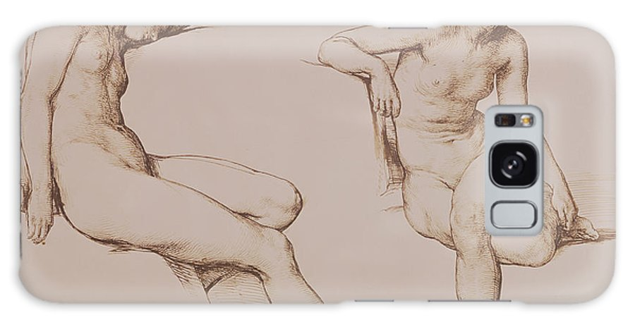 Sepia Galaxy S8 Case featuring the drawing Sepia Drawing Of Nude Woman by William Mulready