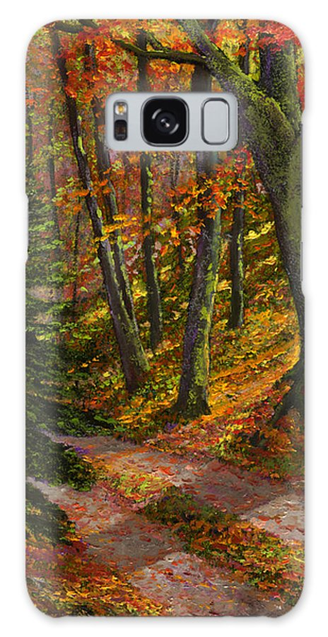 Road In The Woods Galaxy S8 Case featuring the painting September Road by Frank Wilson