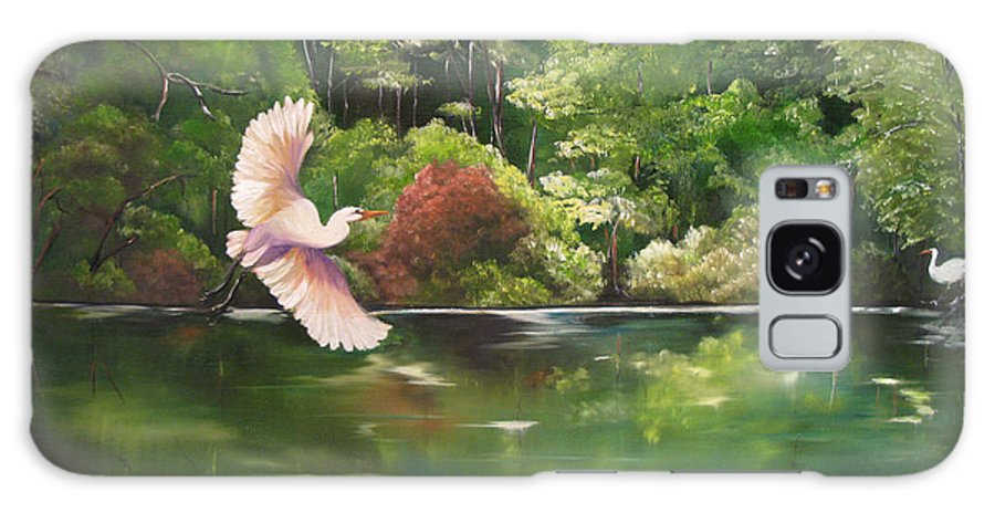 Heron Galaxy S8 Case featuring the painting Serenity by Carol Sweetwood