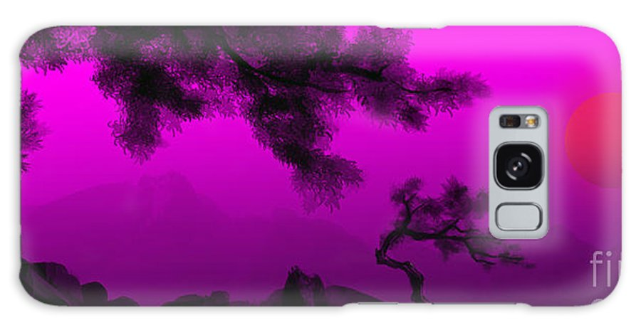 Japanese; Sunset; Mountains; Trees; Rising; Sun; Contemporary; Purple; Pink;sunrise; Sunset Galaxy S8 Case featuring the painting Serenity by James Christopher Hill