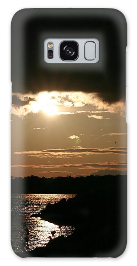 Sunset Lake Water Trees Rocks Shore Clouds Galaxy S8 Case featuring the photograph Setting Sun by Andrea Lawrence