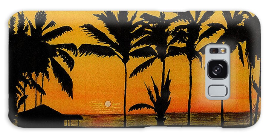 Sun Galaxy S8 Case featuring the painting Setting Sun In The Tropics by Michael Vigliotti