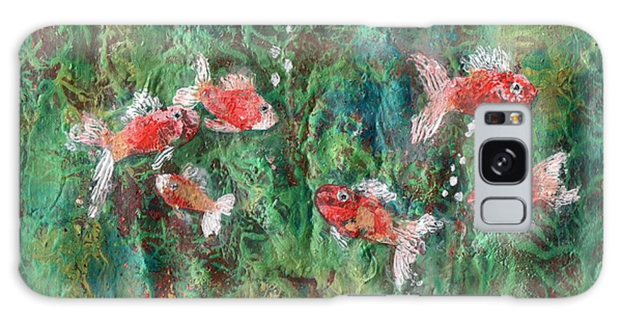 Acrylic Galaxy S8 Case featuring the painting Seven Little Fishies by Maria Watt