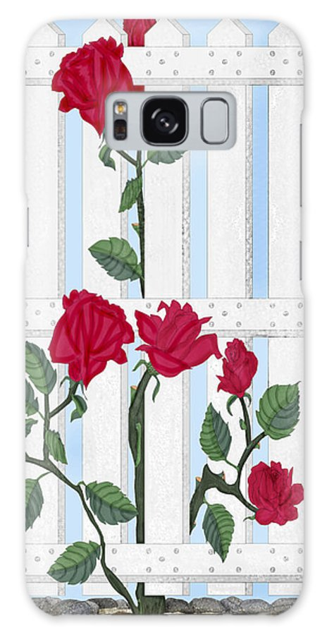 Roses Galaxy S8 Case featuring the painting Seven Roses For Mary by Anne Norskog