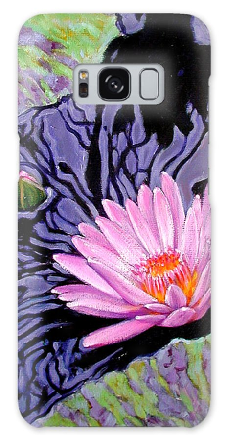 Water Lily Galaxy S8 Case featuring the painting Shadow Reflections by John Lautermilch