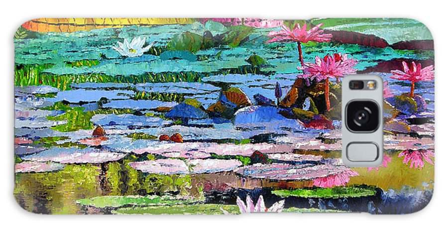 Water Lilies Galaxy Case featuring the painting Shadows And Sunlight by John Lautermilch