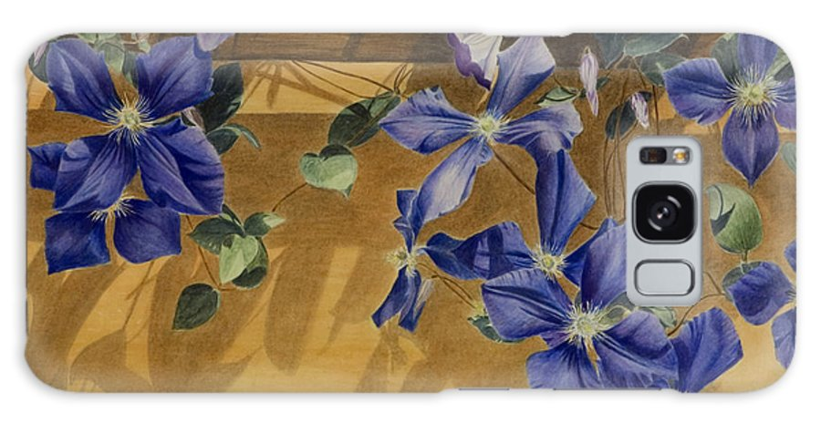 Clematis Galaxy Case featuring the painting Shadows Dancing by Nik Helbig