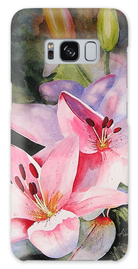 Lilies Galaxy S8 Case featuring the painting Shady Ladies by Karen Stark