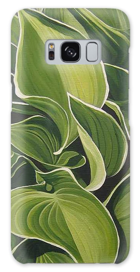 Closeup Of Hosta Plant Galaxy Case featuring the painting Shapes That Go Together by Hunter Jay
