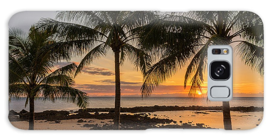 Sharks Cove Palm Tree Sunset Beach North Shore Oahu Hawaii Hi Seascape Galaxy S8 Case featuring the photograph Sharks Cove Sunset 4 - Oahu Hawaii by Brian Harig