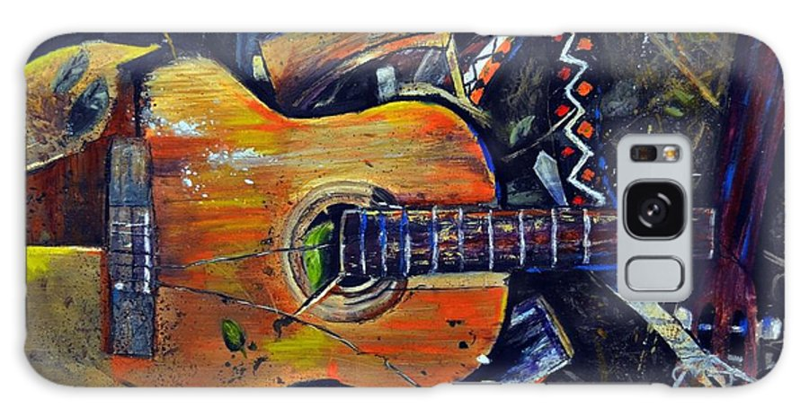 Abstract Impressionistic Smashed Guitar Galaxy S8 Case featuring the painting Shattered Melody by Evan Alderton
