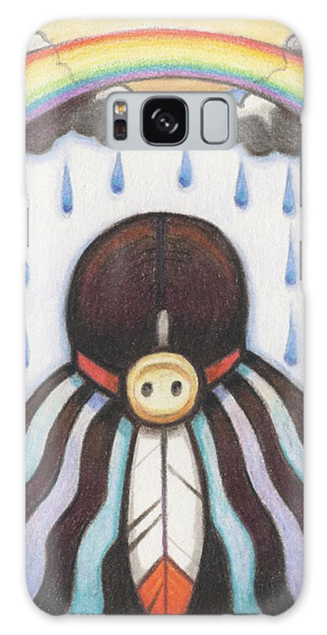 Indian Galaxy S8 Case featuring the drawing She Who Brings The Rain by Amy S Turner