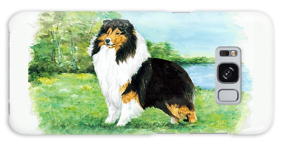 Shetland Sheepdog Galaxy Case featuring the painting Sheltie Wait by Kathleen Sepulveda