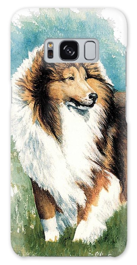Shetland Sheepdog Galaxy Case featuring the painting Sheltie Watch by Kathleen Sepulveda