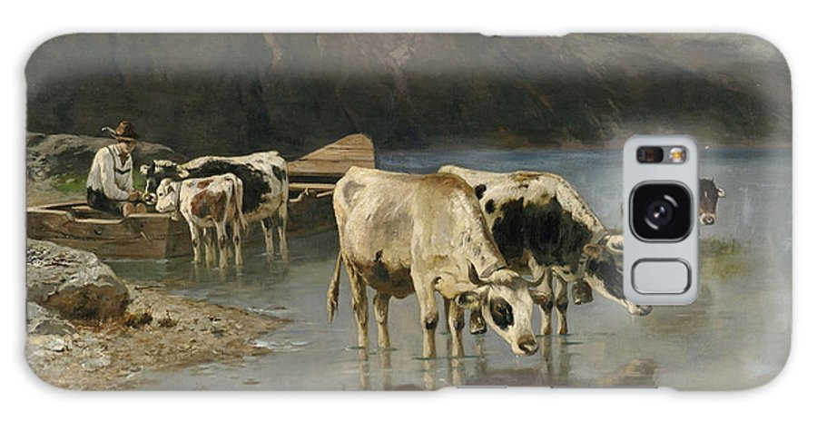 Christian Friedrich Mali Galaxy S8 Case featuring the painting Shepherd With Cows On The Lake Shore by Christian Friedrich Mali