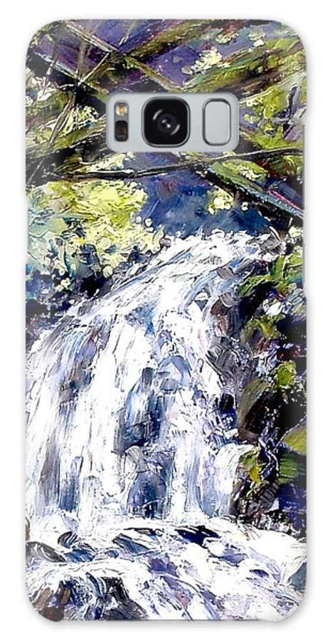 Landscape Galaxy S8 Case featuring the painting Shepherds Dell Falls Coumbia Gorge Or by Jim Gola