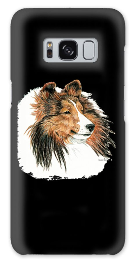 Sheltie Galaxy Case featuring the drawing Shetland Sheepdog, Sheltie Sable by Kathleen Sepulveda