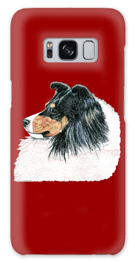 Sheltie Galaxy Case featuring the drawing Shetland Sheepdog, Sheltie Tri Color by Kathleen Sepulveda
